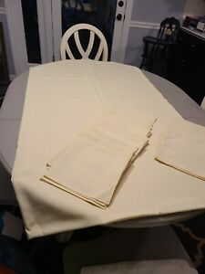 Beige Off-White Rectangle Tablecloth 60 x 104 and 12 cloth napkins