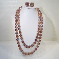 Vintage double strand root beer AB faceted crystal glass beads necklace earrings