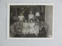 Vintage Black & White Snapshot Family On Sofa In House B&W Photograph