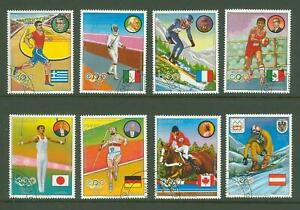 Paraguay A35 1977 used 8v Sports Olympics Fencing Gymnastics Riding