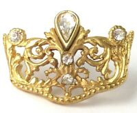 VINTAGE TINY TIARA LAPEL PIN GOLD TONE METAL CLEAR RHINESTONE VICTORIAN REVIVAL