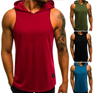 Men's Sleeveless Hooded Vest Tank Tops Gym Muscle T-shirt Casual Tops Shirt