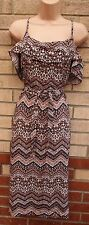PINK BLACK PAISLEY WHITE BAROQUE FLORAL RUFFLE STRAPPY BELTED A LINE DRESS 12 M