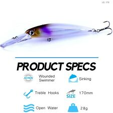 Large Fishing Lure 28g 170mm I Hard Body Live Bait LG170 I Big Lures Tuna Mack