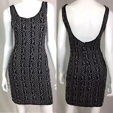 Scala Black Small Silk Beaded V-Neck Sheath Dress White Embroidered Vintage