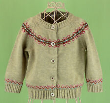 512 Hanna Andersson girl beige Wool cardigan sweater floral EUC 6-12 m (70)