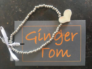 Silver Plated Bead And Heart Charm Bracelet Ginger Tom