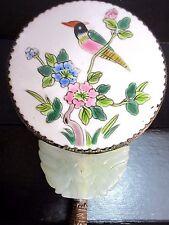 VTG Antique Vanity Hand Mirror Porcelain Jade Metal Hand Painted Parrot Flowers