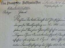 PREUSSEN 1926: antiker ORIGINAL - Brief vom Preussischen Justizminister /Rarität