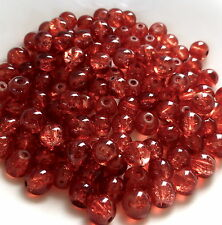 100 pcs - 8 mm round glass red crackle beads