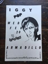 Iggy Pop w/ The Explosives at Armadillo World Headquarters poster 2-20-1980