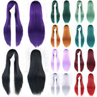 New Fashion Long Anime Wigs 80cm Cosplay Party Straight Womens Hair Full Wig