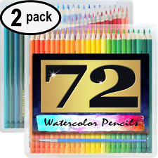 """Watercolor Pencils - 72 Pack - 7"""" Water Soluble - Paint Brush - Case - 2 PACK"""