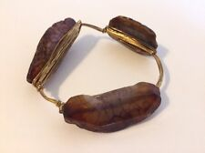 Boutique Gold Tone Wire-wrapped Brown Stone Bangle Bracelet Boho BEAUTIFUL NEW