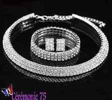 Parure bijoux Collier Boucles d'oreilles Bracelet Strass Mariage Mariée N6
