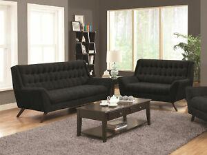 NEW Modern Living Room Furniture Couch Set Black Chenille Sofa & Loveseat IG7S