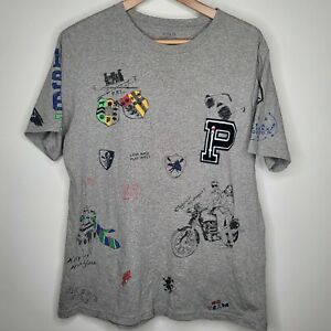 Polo Ralph Lauren Gray All Over Print Bear Motorcycle T-Shirt Youth XL Patch