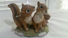 """Home interior masterpiece porcelain """"Sweetheart Chipmunks"""" dated 1990"""