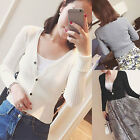 Women Fashion Cardigan Long Sleeve Knit Button Deep V Neck Top Outwear