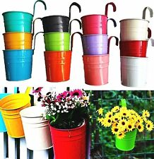 12 Metal Hanging Basket Flower Pot Garden Fence Planters Balcony Home Decorate