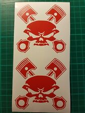 2X Skull crossed pistons vinyl decal stickers van car wall any smooth surface