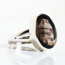Chunky Faceted Smokey Quartz Semi-Precious Stone 925 Solid Silver Ring - Size 7