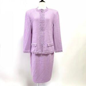 St. John Suit Setup Jacket Skirt Wool Purple Rhinestone Woman Size 10 USA#M7289