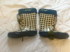 Ed Hardy Houndstooth Pattern Size 3 Galoshes w/ Teal Knit Trim