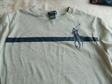 Boys Ralph Lauren Polo Gray T-Shirt with Navy Trim Size Large NWT
