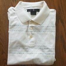 Tiger Woods Nike Golf Polo Shirt Striped Short Sleeve 100% Cotton Ivory Mens L