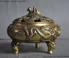 China brass temple Joss 2 Dragon play Beads phoenix statue Incense Burner Censer
