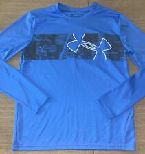 Boys Under Armour Blue LOGO Long Sleeve Shirt Large BACK TO SCHOOL Heat Gear