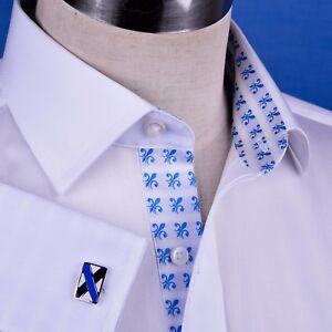 White Herringbone Business Dress Shirt With Fluer De Lis Big Size 19 inch Video