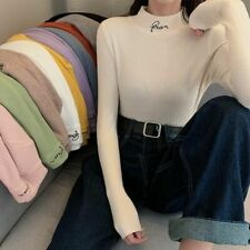 Women's Turtleneck Sweater Stylish Embroidery Pullover Warm Comfortable Sweaters