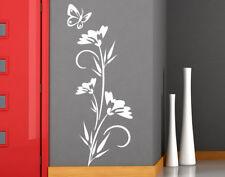Wall Stickers Adesivi Murali fiori Stickers Floreale Farfalla Con Stelo Fiorito