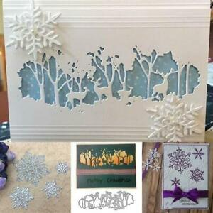 Snowflake Deer Forest Hillside Tree Cutting Dies Stencil Scrapbook Emboss