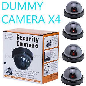 4 Fake Dummy Dome Surveillance Security Camera with LED Sensor Light