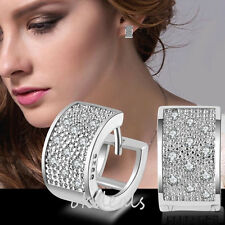 Fashion 925 Sterling Sliver Women Crystal Rhinestone Hoop Earrings Ear Stud TOP