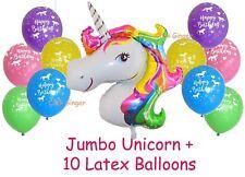 Unicorn Rainbow Jumbo Foil Balloon + 10 Latex Balloons Helium Quality Decoration