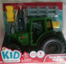 KID CONNECTION FARM TRACTOR PLAY SET - FARMER - HAY BALE - 7 PLAY ACCESSORIES