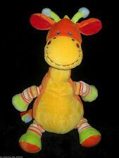 Doudou Girafe Vache orange jaune vert et bleu rayé Mots d'Enfants 32 cm