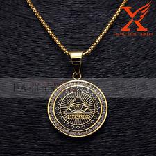 "Stainless Steel 18K Plated Eye Freemason Masonic Pendants with Box Chain 3MM 24"""