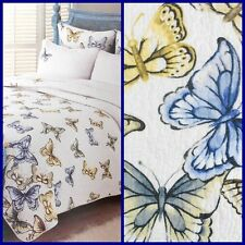 Cynthia Rowley BUTTERFLY Full Queen Quilt Coverlet Blue Yellow White Butterflies