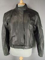 FRANK THOMAS BLACK LEATHER BIKER JACKET WITH PROTECTORS & THERMAL LINING SIZE 16