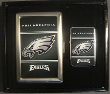 PHILADELPHIA EAGLES NFL CLASSIC LOGO CIGARETTE CASE WALLET LIGHTER GIFT SET NEW