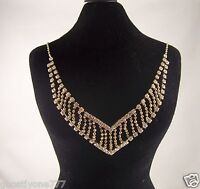 Fancy Necklace great for holiday party's bling gold tone crystal elegant v shape