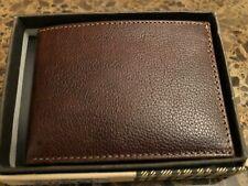 BOCONI Men's RFID Protection  All Leather Slimster Wallet Cognac