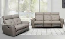 ESF 8501 Contemporary Light Grey Italian Leather Recliner Sofa Set 2Pcs Modern