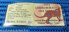 """1994 Australia $1 Uncirculated Commemorative One Dollar Coin with """"C"""" Mint Mark"""