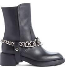 $990 Miu Miu-Prada Leather Harness Chain Motorcycle Boots Riding Booties 37.5